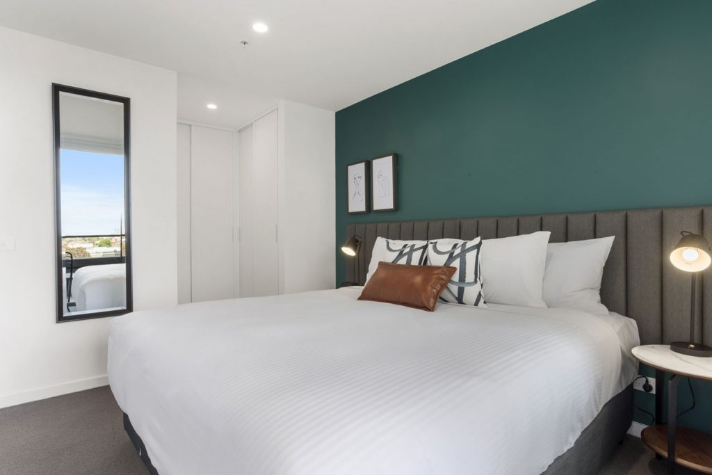 King bed in 1 bedroom apartment at The Sebel Moonee Ponds