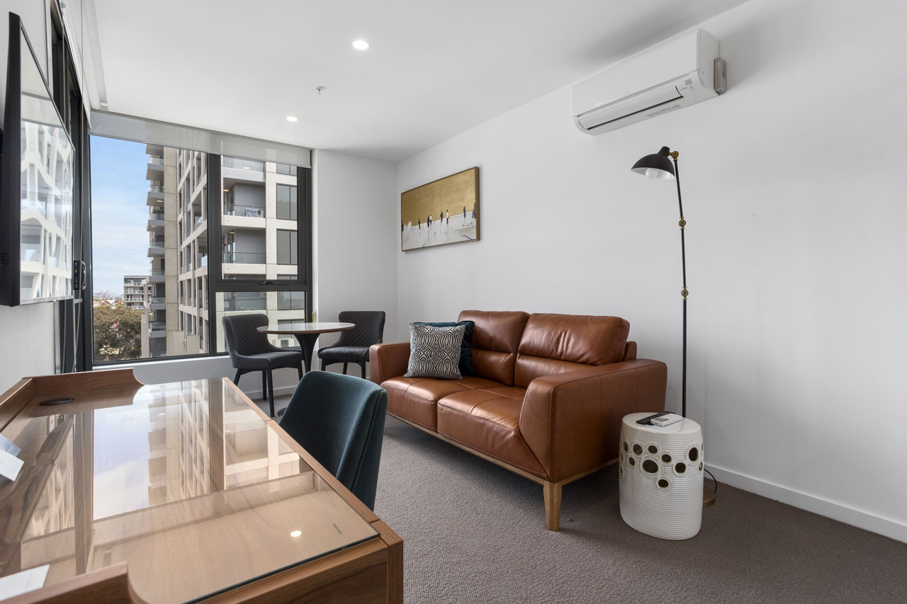 Lounge in 1 bedroom apartment king at The Sebel Moonee Ponds