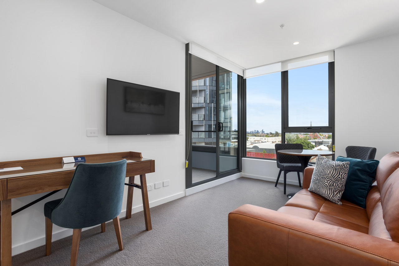 Lounge in King bedroom apartment at The Sebel Moonee Ponds