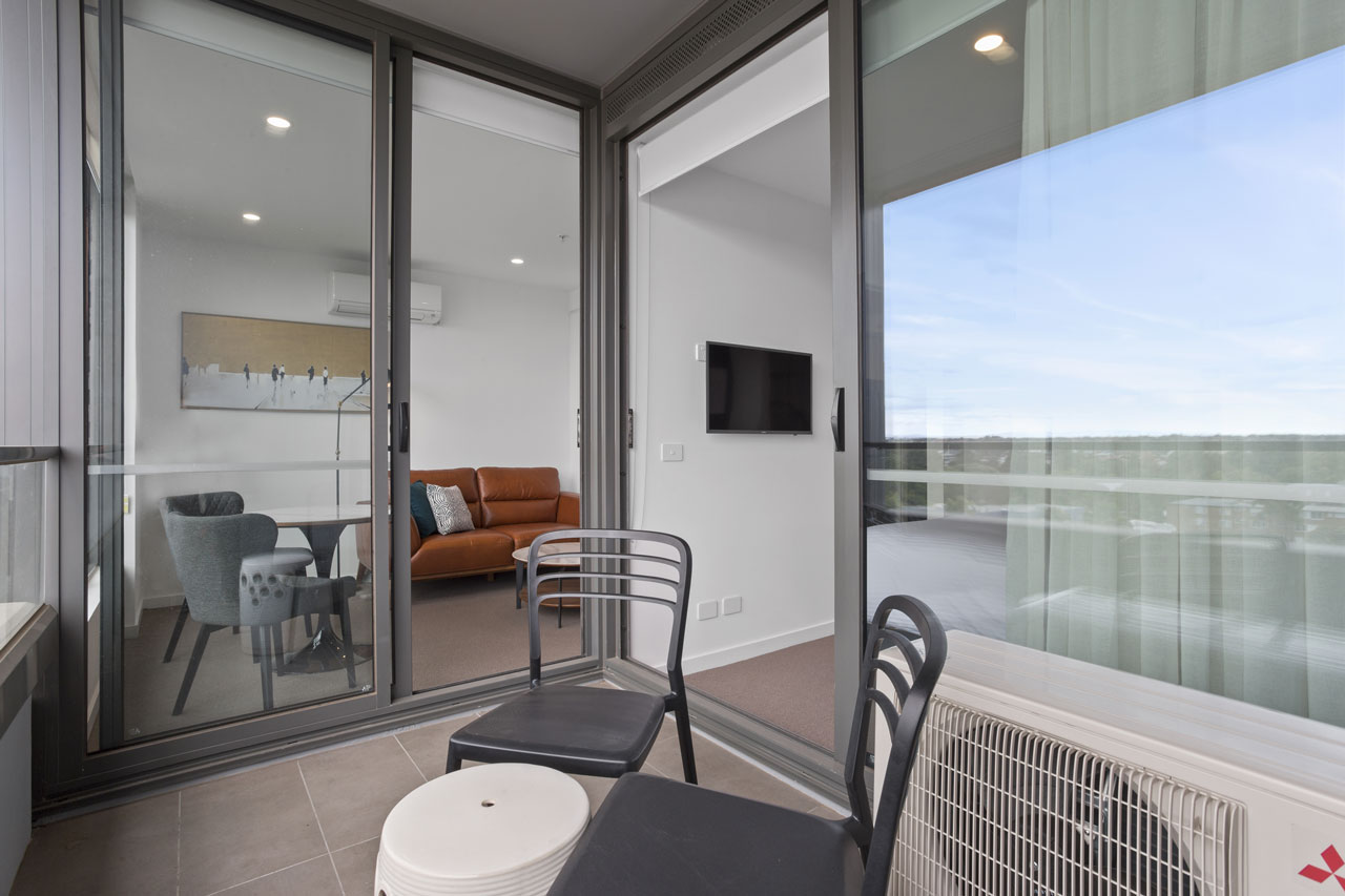 The balcony at The Sebel Moonee Ponds in a one bedroom apartment