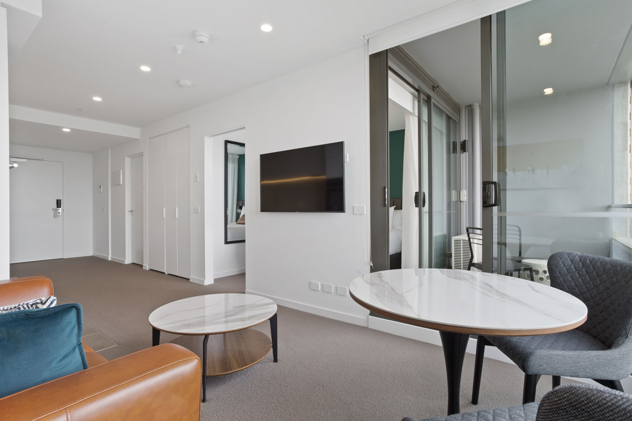 Lounge and living in 1 bedroom apartment at The Sebel Moonee Ponds