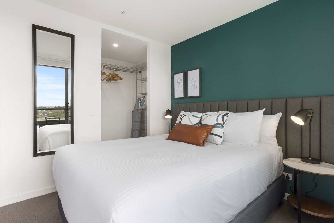 queen bedroom in 1 bedroom apartment at The Sebel Moonee Ponds