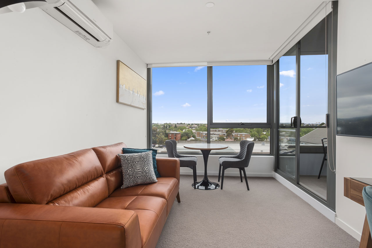 Lounge and dining with view at The Sebel Moonee Ponds