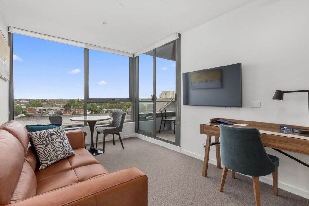 Lounge at The Sebel Moonee Ponds - King bedroom apartment