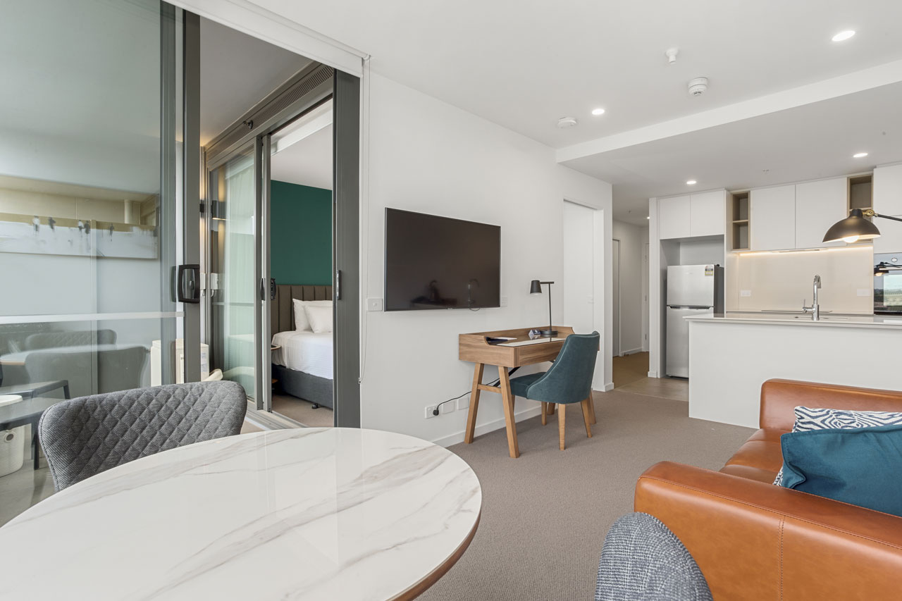 Dining in 1 bedroom king apartment at The Sebel Moonee Ponds